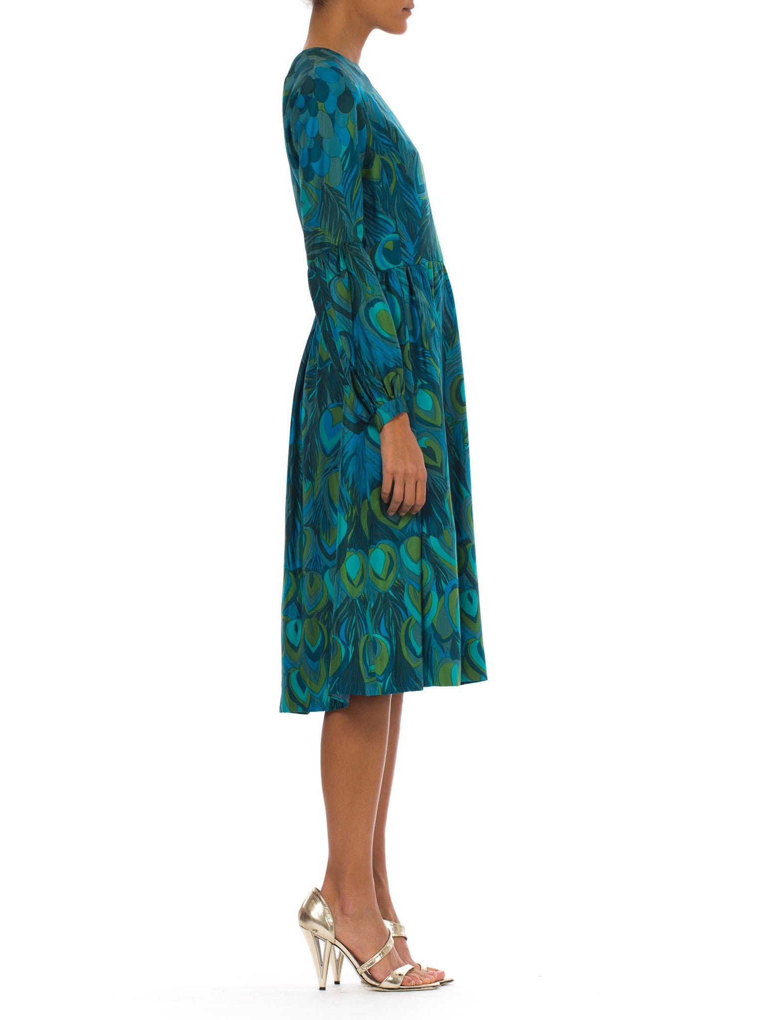 1960S Teal & Green Silk Twill Hand Printed Peacock Feather Print Long Sleeve Dress