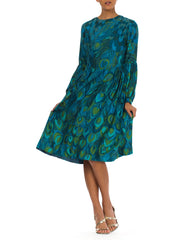 1960s Novelty Peacock Print Long Sleeve Silk Midi Dress