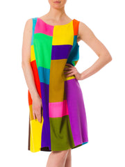 1960s MOD Geometric Patchwork Bright Color A-Shaped Dress
