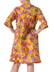 1960s Mod Floral Printed Short Sleeve Raincoat Jacket