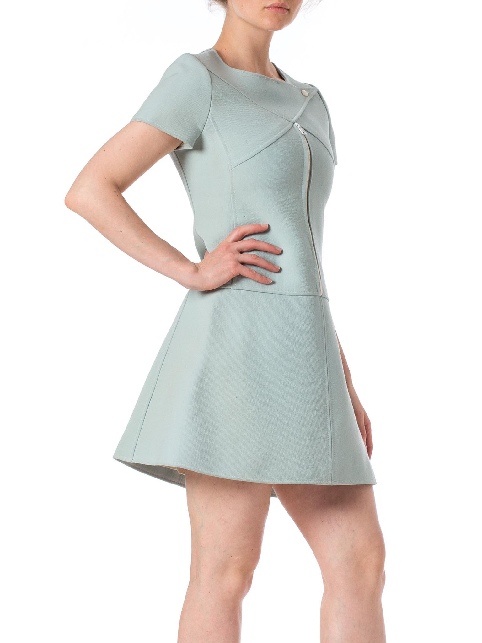 1960S Courreges Baby Blue Wool Mod Shift Dress