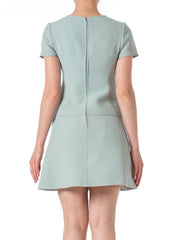 1960s MOD Blue Sky Short Sleeve Wool Dress