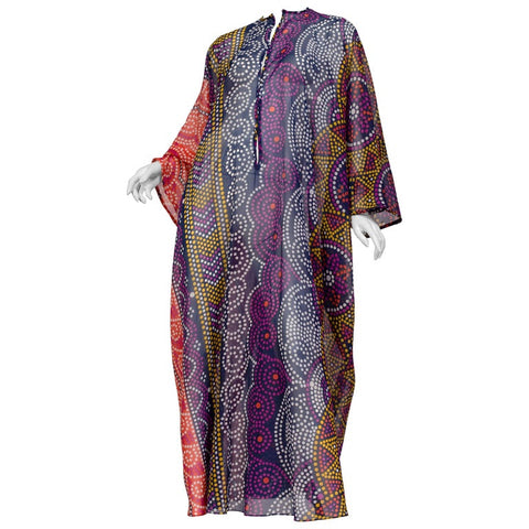 1970S Multicolor Printed Dots Cotton Sheer  Kaftan