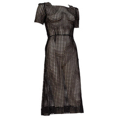 1930s Sheer Geometric Eyelet Cotton Lace Dress