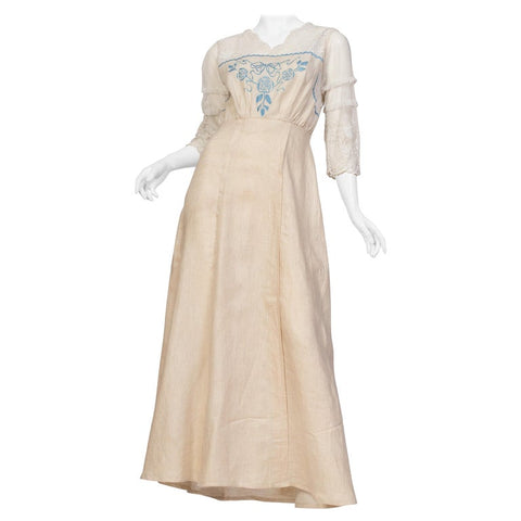 1910s Edwardian Hand Embroidered Organic Linen + Lace Net Dress