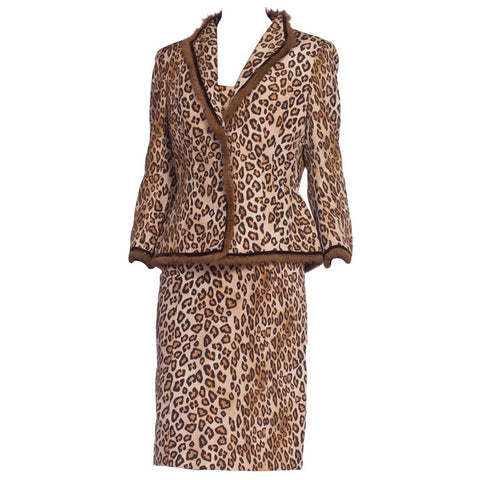 Alexander McQueen Cheetah Print Jacket and Dress Set