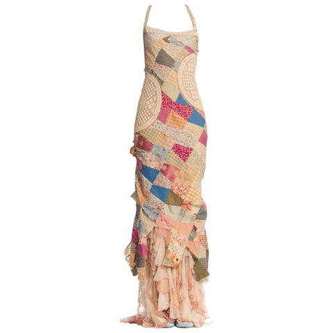 MORPHEW COLLECTION Silk & Cotton Antique Patchwork Quilt Gown With Chiffon Ruffled Train