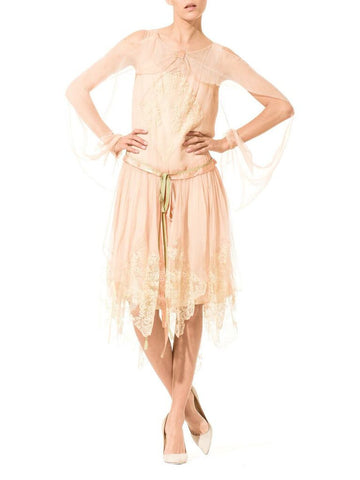 1920S Blush Pink Silk Mousseline  & Ivory Chantilly Lace Day Dress With Ribbon Belt