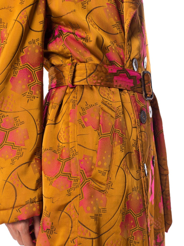 1990S JEAN PAUL GAULTIER Art Deco Rayon & Silk Brocade Belted Trench Coat