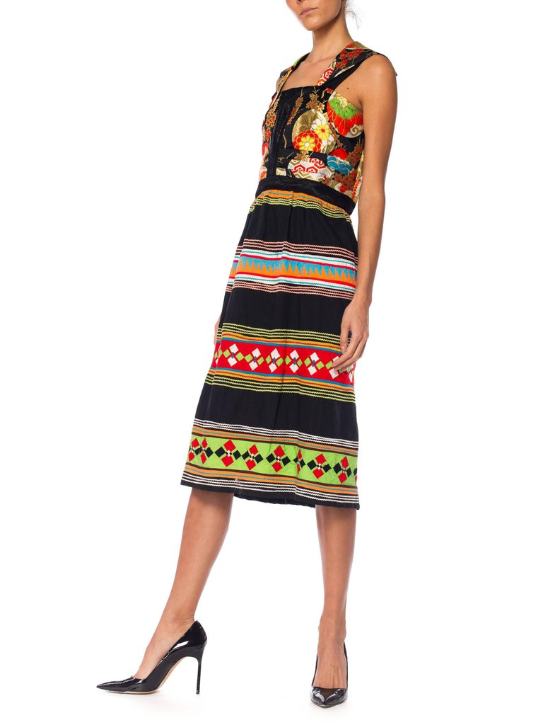 MORPHEW COLLECTION Silk & Cotton Dress Made From Japanese Obi Brocade Seminole Indian Patchwork