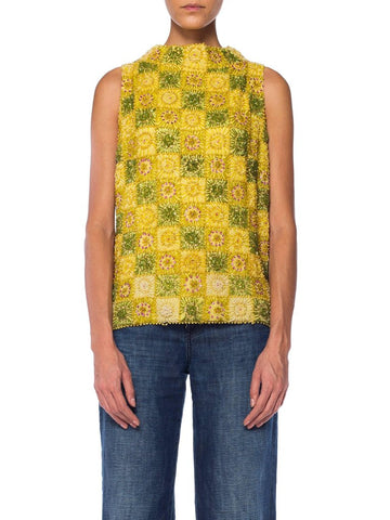 Yellow Heavily Beaded Square Sunny Pattern Top