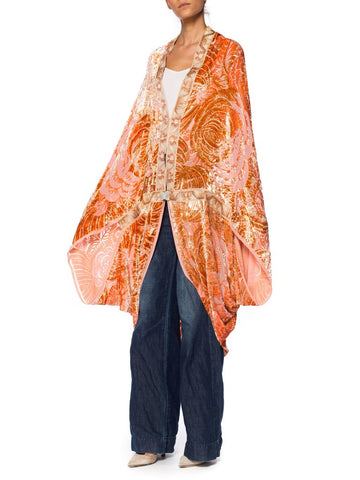 Peach Burnout Velvet Cocoon Jacket with Mother of Pearl Clasp