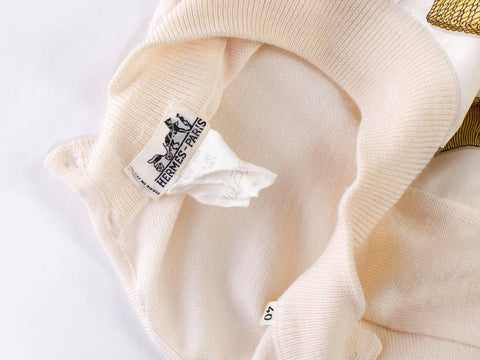 1970S HERMES Ivory Wool Knit Mock Neck Sweater With Silk Scarf Front