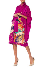 Silk Wrap Dress Made from a Kimono with Frog Closures