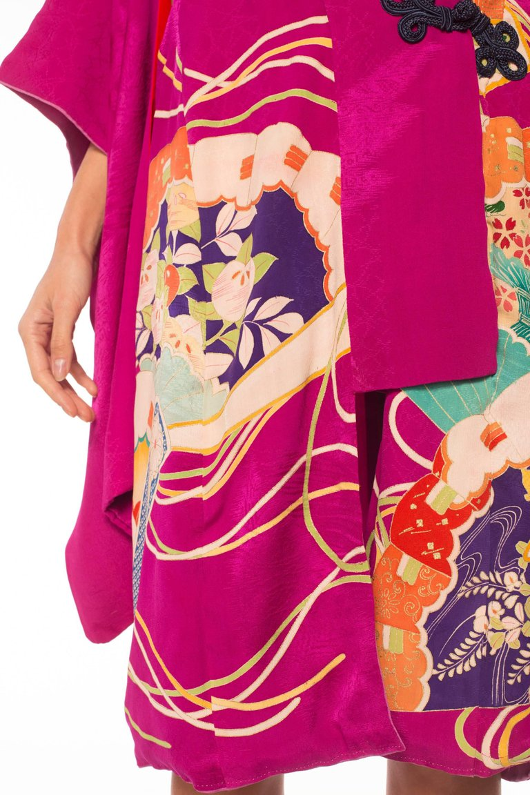 MORPHEW COLLECTION Silk  Wrap Dress Made From A Kimono With Frog Closures