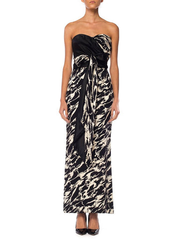 Odicini Couture Black and White Patterned Silk Gown