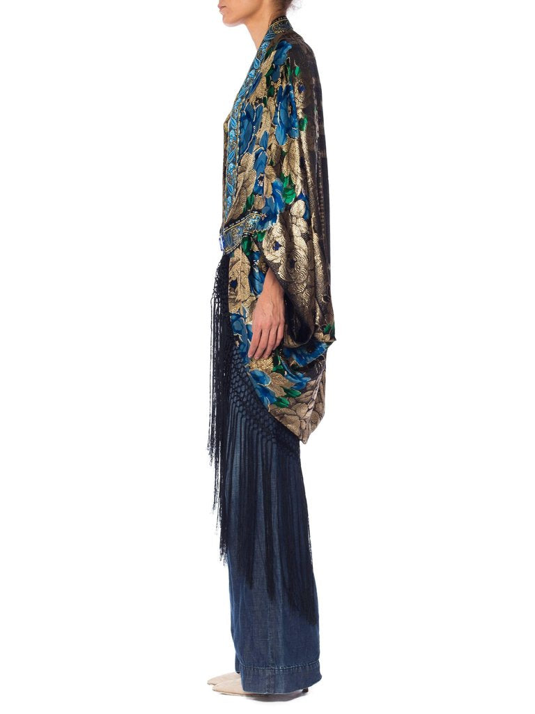 Morphew Collection Floral Printed Silk & Gold Deco Lame Cocoon With Fringe Made Antique Trim 1930'S Clasp