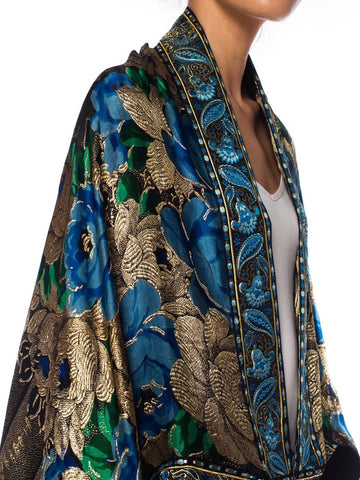 1920S Morphew Collection Lamé Silk Blue And Gold  Cocoon With Fringe Jacket