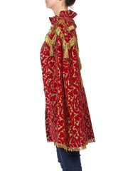 1920s Red Velvet Medieval Cape with Gold Bullion Fringe