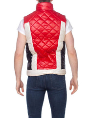 Red White and Blue Wet Look Puffer Vest
