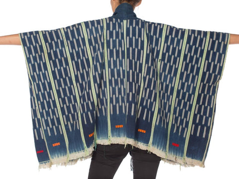 Morphew Collection Indigo Blue & Green Cotton Handwoven African Oversized Poncho With Pockets