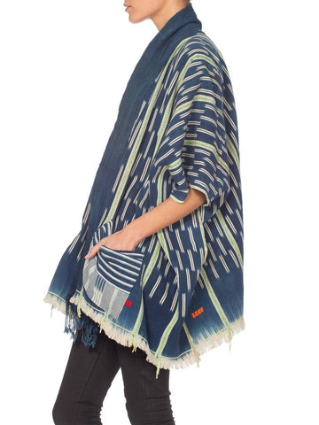 Morphew Collection  Handwoven Tie-Dyed African Indigo Oversized Kimono Jacket