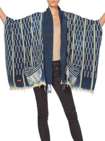 Morphew Collection  Handwoven Tie-dyed African Indigo Oversized Kimono Jacket Kimono
