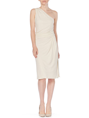 1990S TOM FORD GUCCI White Slinky Viscose Jersey One Shoulder Cocktail Dress With Gold Bit Detail And Slit