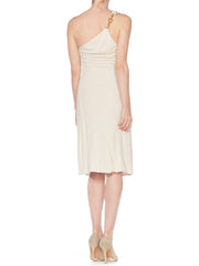 Tom Ford Gucci Slinky White Jersey Dress with Gold Bit Detail and Slit