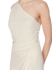 1990S Tom Ford Gucci Slinky White Jersey Dress With Gold Bit Detail And Slit,
