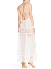 White Cotton Eyelet Strappy Back Embroidered Lace Maxi Dress