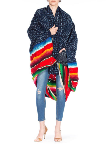 1940S Morphew Collection Indigo Blue Multicolored African And Mexican Blanket Jacket