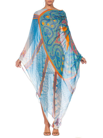 Morphew Collection Blue Abstract Patterned Chiffon Asymmetrical Kaftan