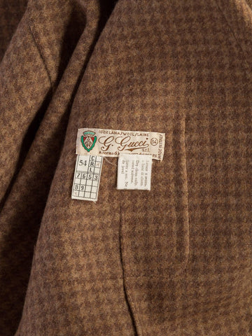 1970S Gucci Wool Plaid Men's Tweed Blazer With Embossed Logo Leather Buttons
