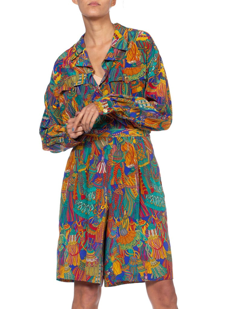 1990S Silk Tassle Print Oversized Top And Shorts Ensemble From Saks 5Th Ave