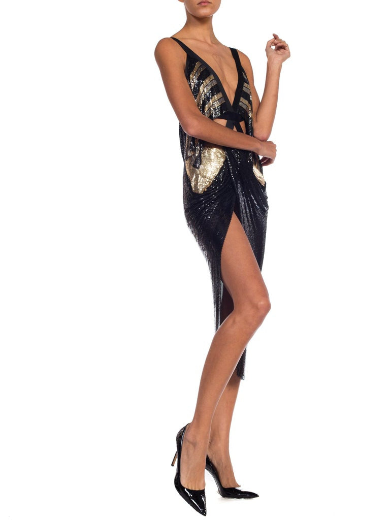 MORPHEW COLLECTION Black & Gold Metal Mesh Satin Ribbon Bondage Strap Cutout Cocktail Dress
