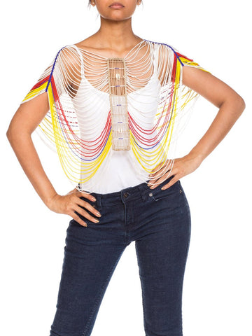 2000S African Beaded Harness Top With Cowrie Shells