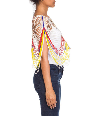 African Beaded Harness Top with Cowrie Shells