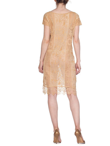 1920S Flapper Era Hand Made Lace & Sink Dress Embroided With Butterflies