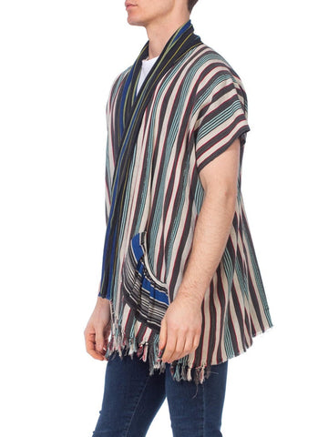 Morphew Collection Handwoven Fringe Striped African Indigo Kimono