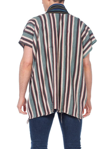 MORPHEW COLLECTION Grey & Red Cotton Handwoven African Indigo Stripe Poncho