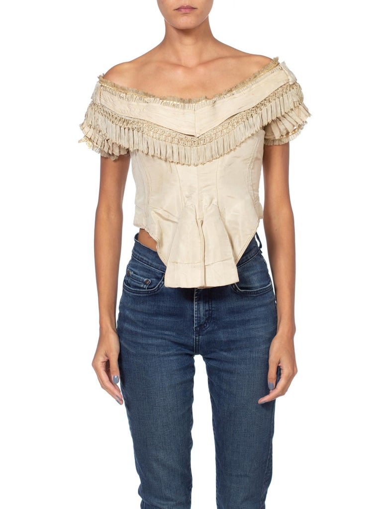 1860S Victorian Cream Pleated and Fringed Bodice Top