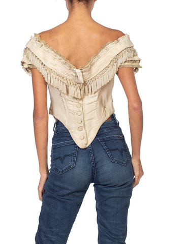 1800S Victorian Cream Pleated and Fringed Bodice Top