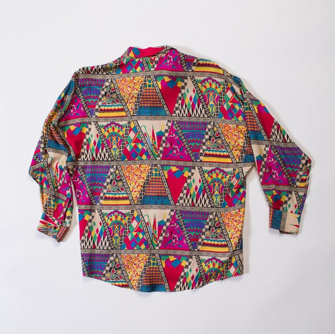 1990s Gianni Versace Abstract Triangle Print Silk Shirt