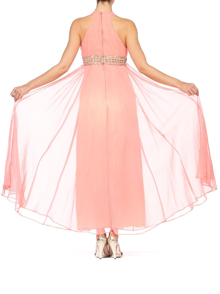 1970S Salmon Pink Polyester Chiffon Empire Waist Godess Gown With Crystal Beading