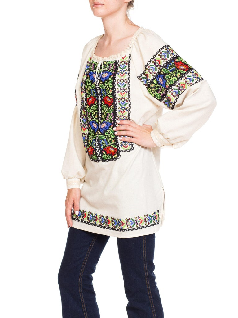 1950S Multicolor Hand Beaded Cotton Romanian Boho Folkloric Top