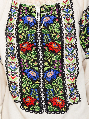 1970S Multicolor Hand Beaded Cotton Blend Floral Boho Folk Top