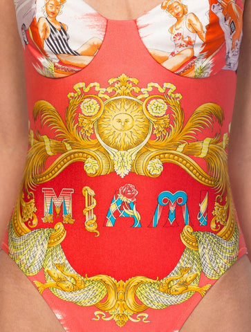 1990S GIANNI VERSACE Miami Collection Iconic Pin-Up Girls Swimsuit