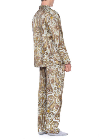 Mens Paisley Satin Pajamas Lined With Cotton Fleece