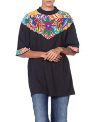 Central America Ethic Floral and Parrot Applique T-Shirt
